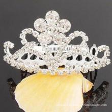 Accesorios del pelo de la boda plata barrette plateado de la tiara del cristal