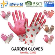 Guantes de jardín, impresión Polyestershell Latex recubierto arrugado acabado guantes de trabajo de seguridad (G2000) con CE, En388, En420
