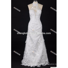 V Neckline Sleeveless Low Back Guipure Lace open low back New Models Decent Wedding Dresses