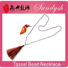 Dernières bijoux d'hiver unique pompon à la main collier perle de cristal collier long