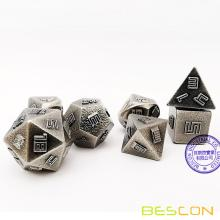 Bescon Nickle-Ore Lode Solid Metal Dice Set, Raw Metal Polyhedral D&D RPG 7-Dice Set