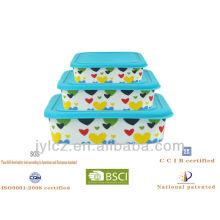 Herz Design Keramik quadratischen Lebensmittel Lagerung mit Silikon Deckel, 3er Set