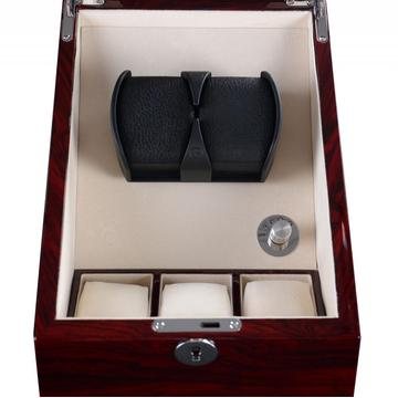 Rose Wood Watch Winder Box med förvaring