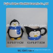 High quality ceramic penguin sugar and creamer set