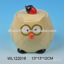 Lovely ceramic owl condiment pot with lid