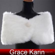 Grace Karin Elegant Design Winter White Faux Fur Wedding Bridal Shawls CL2616