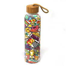 Fantastic Floral Pattern Borosilicate Glass Drinking Water Bottle 600ml With Holder Baboom Lid