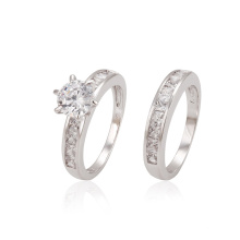 12870 xuping delicate fashion royal style rhodium color zircon combination wedding ring set