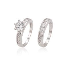 12870 xuping moda delicada estilo real ródio cor zircão combinação anel de casamento conjunto