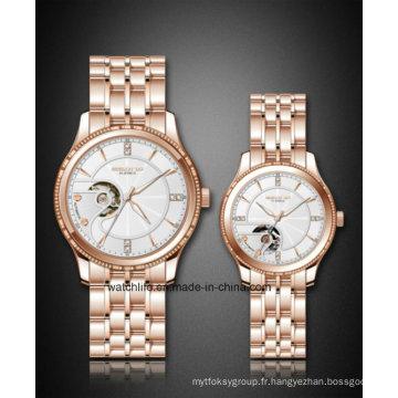 Nouveau cadran squelette spécial avec diamant Fashion Couple Wrist Watch