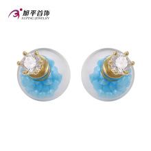 E-164 Xuping Fashion 14k Gold-Plated CZ Diamante Imitación Joyería Pendiente de perlas de vidrio