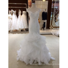 Mermaid Ruffle Organza vestido de novia