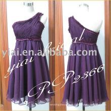 2011 Herstellung sexy Chiffon eine Schulter Perlen kurzen Abend Kleid Designer PP2366