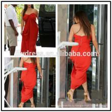 Красный шифон милая декольте TeaLength на заказ торжества Красный ковер платья KD008 Кардашян kollection