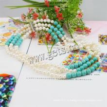 3-слойное бирюзовое ожерелье из пресноводной жемчужины Gets.com