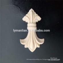 Pequeño caucho tallado en madera decoraciones rosetones de madera apliques de madera