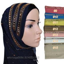 Best selling muslim women head dubai diamond scarf hijab muslim shawl fashion jewel cotton stone hijab