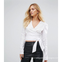 Ladies White Bandage Blouse with Long Sleeve Sexy Blouse