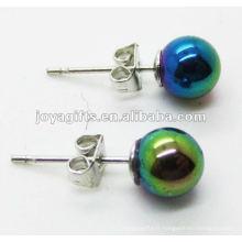 Boucle d'oreille en perles rondes en hématite de 6MM, couleur arc-en-ciel.
