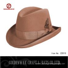 Cool Mens Brown Wolle Kleid Winter Fedora Hüte für Männer