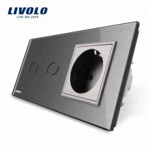 Livolo 16A Стандарт ЕС настенная розетка с сенсорным выключателем VL-C702-15 / VL-C7C1EU-15