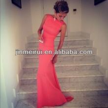 Vestido largo del acontecimiento de la boda del vestido de noche de la sirena del coral del cuello de la envoltura superventas libre del satén del envío libre
