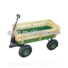 Gartenwagen aus Holz mit 4 Rädern, Holzkarren TC2017