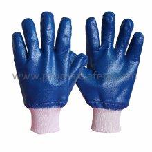 Jersey Liner Blue Nitril Vollbeschichteter Handschuh mit Strickhandgelenk