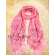 fashion 100% linen embroidery scarves