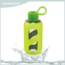 De alta calidad de transferencia de calor de impresión botella de agua de vidrio con manga de silicona