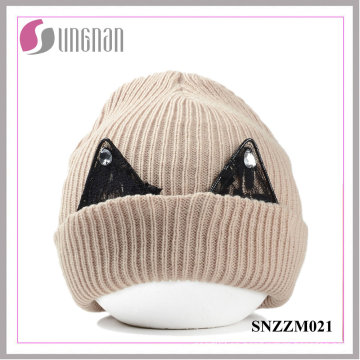 Gorro de lana grueso cálido de alta calidad Sombrero de punto lindo de encaje Rhinestone del oído