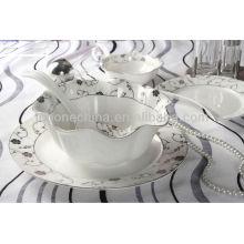 Venta al por mayor de luz ligera delgada super blanco grabado en relieve utensilios de cocina para el restaurante de China
