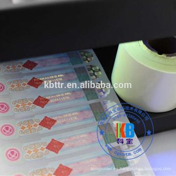 Impresora uv cinta cebra impresora utiliza etiqueta anti-falsificación etiqueta anti-falsificación