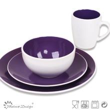 Purple Color Ceramic Stoneware Bicolor Dinner Set