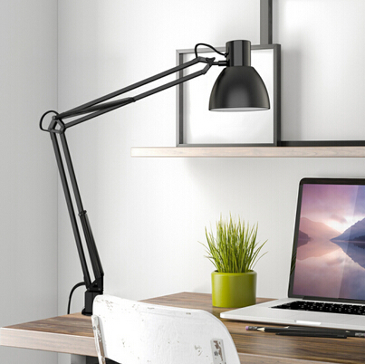 Long Swing Arm Desk Lamp Clamp Metal Architect Adjustable Folding Twin-Arm Clip-on Table Lamp black-4