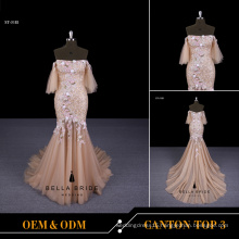 2017 Hot sales sleeveless gold long evening dress fish cut 3D embroidered flower evening dress for women