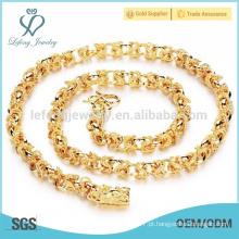 Chunky ouro cubano cadeia colares, cobre chapeamento jóias de ouro 18k