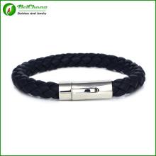 Hommes bijoux hommes acier inoxydable couleur noire multicouche fait main tressé cuir Bracelet