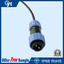Conector impermeável masculino azul escuro da fiação da tomada de 2 Pin