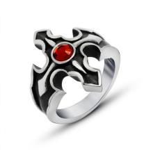 Адское Пламя Крест Кольцо Кроваво-Красный Циркон Из Нержавеющей Ювелирные Изделия