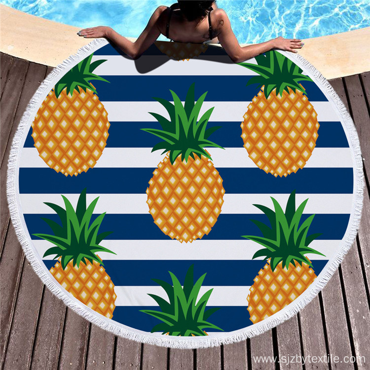 Reactive Print Large Round Microfiber Beach Towel