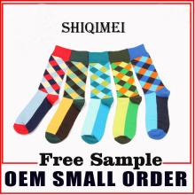 Mode Kontrast Farbe Diamant Gitter Socken