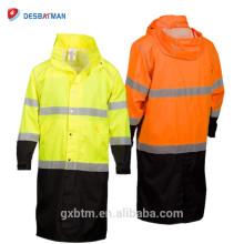 Parka de veste de pluie de vêtements de travail de la visibilité ANSI de la classe 3, imperméable imperméable à haute visibilité de 100% imperméable à capuchon
