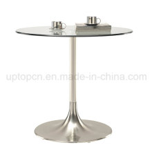 Leisure Stainless Steel Trumpet Base Round Glass Top Table (SP-GT100)
