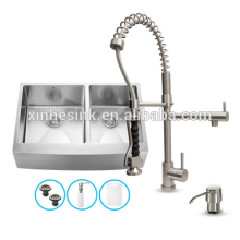 Handmade Zero Radius Farm House Stainless Steel SUS 304 Single or Double bowl kitchen Sink with apron front