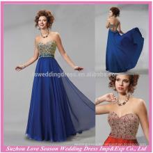 HE10095 2015 long evening gown sweatheart sleeveless elegant floor length beaded blue chiffon floral evening dress