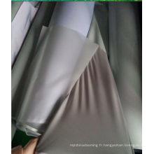 Tissu de coton réfléchissant résistant à l'eau gris argenté pour la fabrication de vêtements