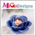 Atraente titular de vela em forma de flor azul para decoração de casa