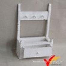 Винтажная белая деревянная полка с 1 ящиком
