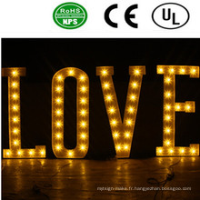 Romantique LED LED avant éclairé lettre signe-amour pour mariage